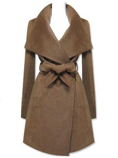 Brown Long Sleeve Shawl Collar Self Tie Duffle Coat