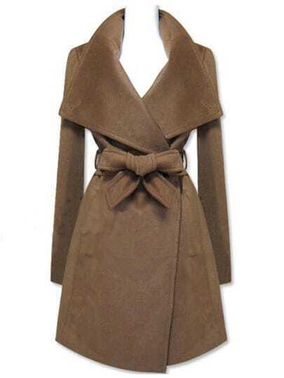 Brown Long Sleeve Shawl Collar Self Tie Duffle Coat