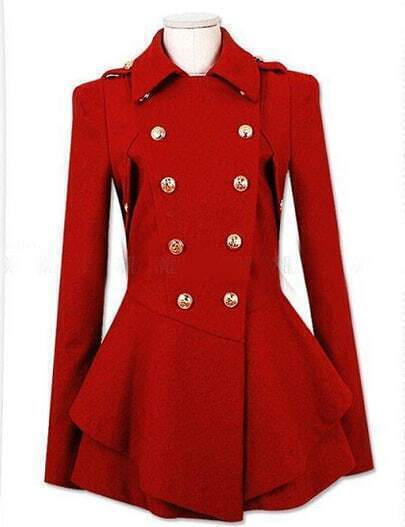 Red Lapel Double Breasted Frock Coat