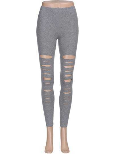 Elastic Waist Ripped Leggings