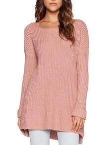Pink Scoop Neckline Dip Hem Roll Sleeve Sweater
