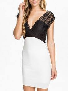 Lace Contrast Deep V Bodycon Dress