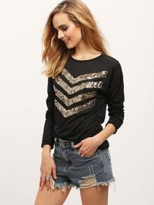 Black Round Neck Sequined Loose T-Shirt