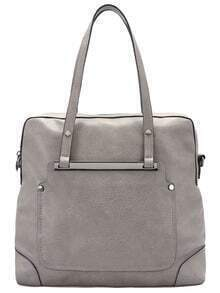 Grey Classic Metal Embellished PU Shoulder Bag