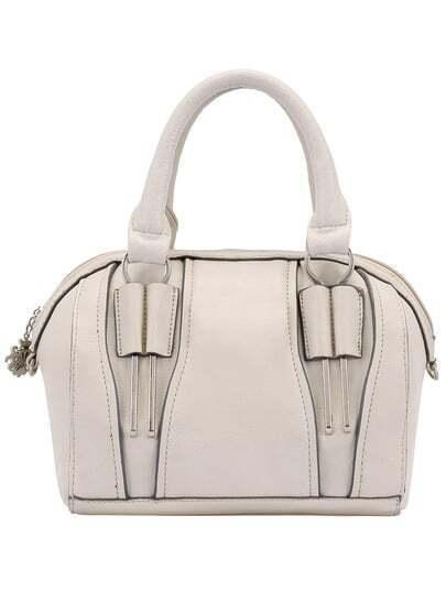 Beige Fashion Zipper PU Shoulder Bag