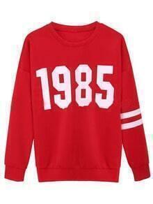 Red Round Neck 1985 Print Loose Sweatshirt