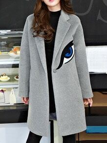 Grey Lapel Eye Embroidered Woolen Coat
