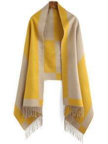 Colour-block Tassel Scarve
