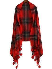 Red Plaid Twisted Ball Scarve