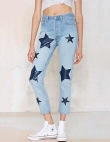 Women Denim Skinny Stars Patch Pants