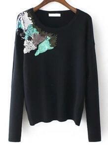 Black Round Neck Sequined Slim Knitwear