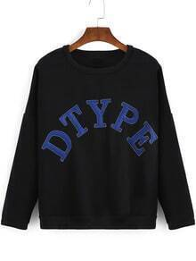 Black Round Neck Letters Patterned Sweatshirt