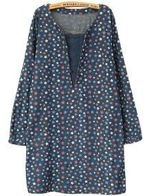 Navy Blue V Patch Neck Star Print Dress