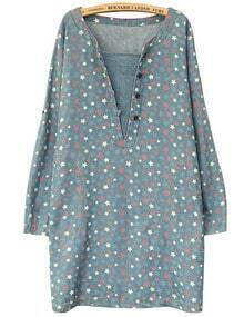 Blue V Patch Neck Star Print Dress
