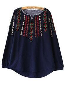 Navy Blue V Cut Embroidered Loose Blouse