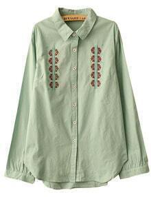 Green Embroidered Button Shirt
