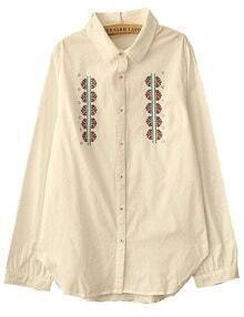 White Embroidered Button Shirt