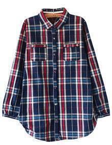 Blue Plaid Pocket Boyfriend Shirt