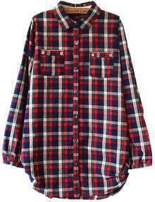 Red Plaid Pocket Boyfriend Shirt