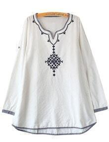 White Contrast Blue Embroidery Dress Blouse