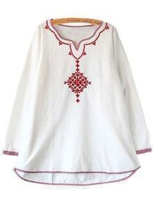 White Contrast Red Embroidery Dress Blouse