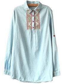 Pale Blue Button Front Embroidered Denim Shirt