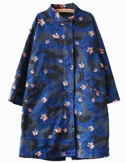 Women Blue Stand Collar Camo Coat