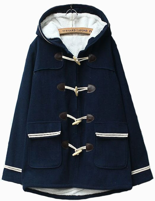 Navy Blue Pocket Contrast Trim Hooded Duffle Coat -SheIn(Sheinside)