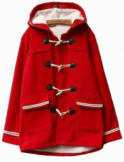 Red Pocket Contrast Trim Hooded Duffle Coat