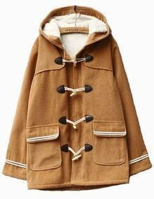 Camel Pocket Contrast Trim Hooded Duffle Coat