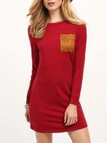 Burgundy Long Sleeve Elbow Patch Dress