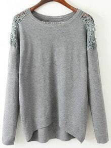 Grey Lace Embellishment High Low Jumper