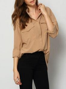 Camel Stand Collar Buttons Pockets Blouse