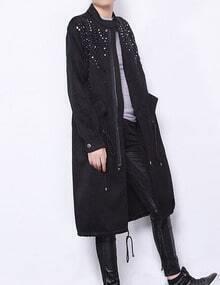 Black Beaded Pocket Drawstring Midi Coat