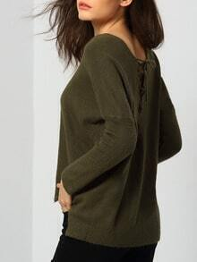 Army Green V Neck Lace Up Back Knitwear