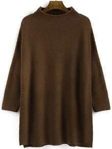 Camel Mock Neck Split Loose Sweater