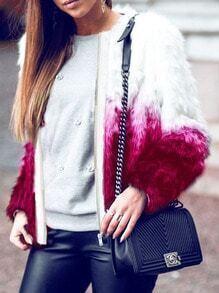 Roes Red Color Block Faux Fur Coat
