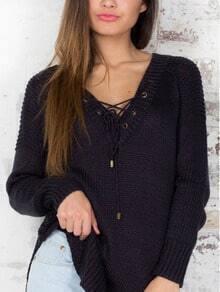 Black Lace Up Neckline Side Split Jumper