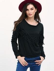 Womem Black Fringe Decorated Sweatshirt