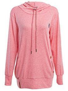 Pink Drawstring Hooded Sweatshirt