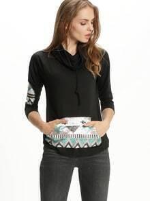 Black Drawstring Cowl Neck Print Pocket Tshirt