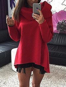 Red Cowl Neck Asymmetrical Tshirt