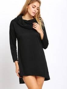Black Cowl Neck Asymmetrical Tshirt