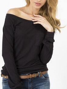 Women Black Pocket Plain Tshirt