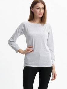 Women Grey Pocket Plain Tshirt