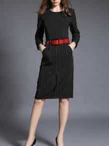 Black Vertical Striped Contrast Belt Dress