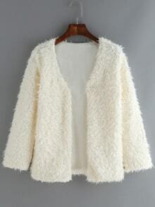 Beige V Neck Long Sleeve Faux Fur Coat