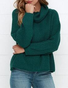 Green Cowl Neck Chunky Ribbed Sweater