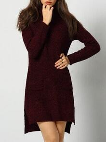 Burgundy High Neck High Low Sweater Dress