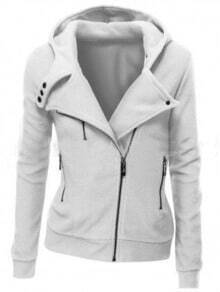 White Zipper Front Hooded Sweatshirt